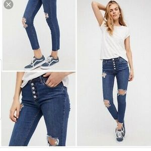 Free People Jeans - Free people destroyed regan button front.